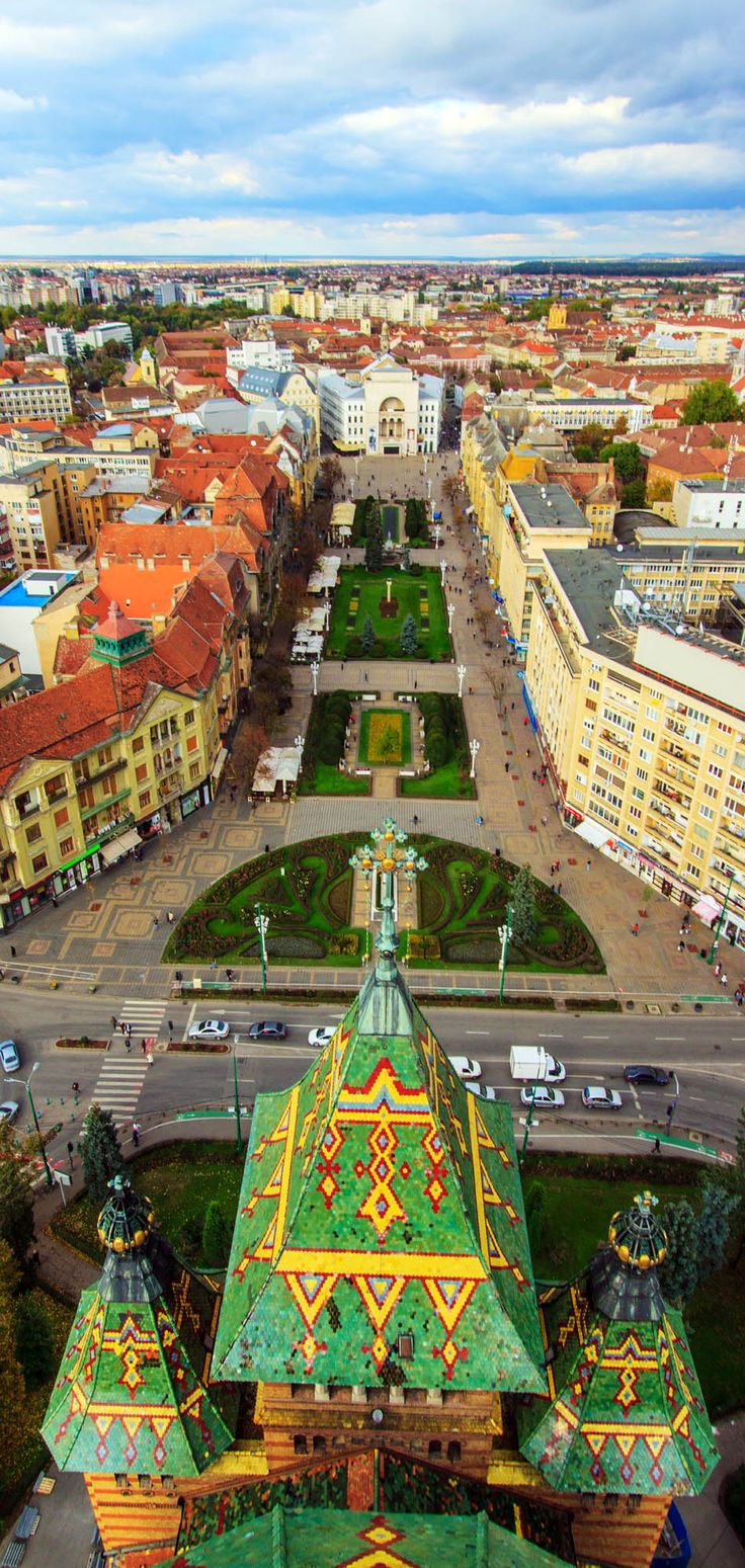 Timisoara, Romania city square- seen from the top of the Orthodox Cathedral…