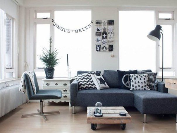 Winsome Modern Living Room Design Ideas With Grey Small Sectional Sofa  Eclectic Living Room Rustic Oak Coffee Table Industrial Floor Lamp Design  Black Shade ...