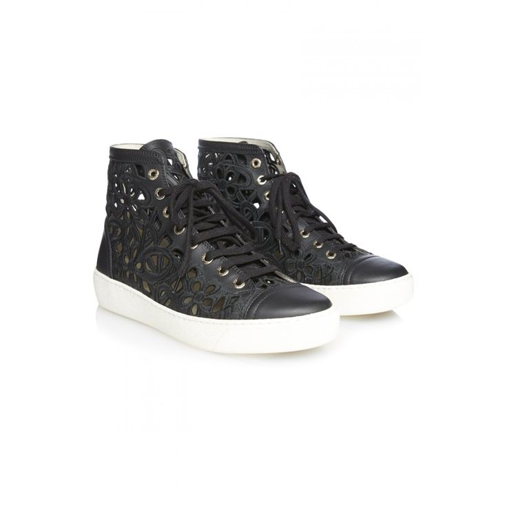 Chanel Floral Cut Out High Top Leather Trainers; Size: 38.5; Price: 350£ on @covetique  Baskets Chanel