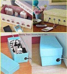 What a great idea Cables Shoes Box Organizer   Nowadays cables and chargers are what we have most in our home! Sometimes they become a mess, accumulating dirty and dust. If you want to keep them in a safe place and also let your home free of that visual mess you can use shoes box to do that. Make some holes in the box to let cables pass and charge your electronic devices in an easily and practical way.