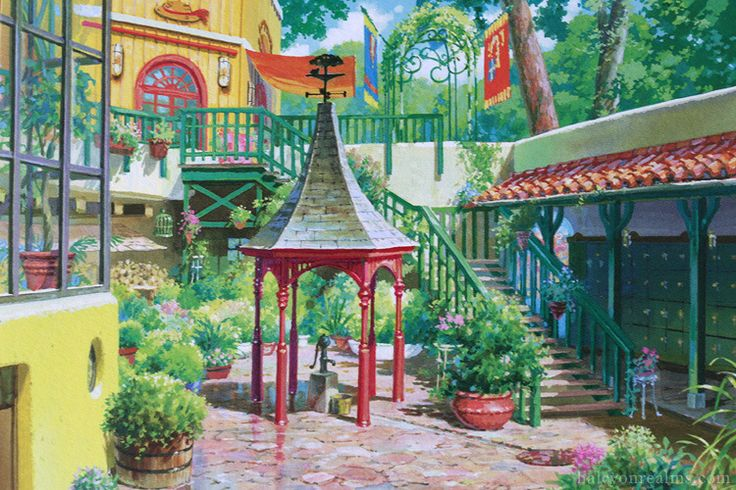 Ghibli Museum illustrated postcards by Noboru Yoshida (art director on Ponyo, Howl's Moving Castle, Arietty …).