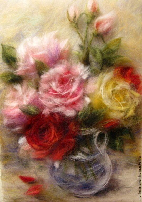 Купить Картина из шерсти Букет из роз - картины из шерсти, живопись шерстью, шерстяные картины