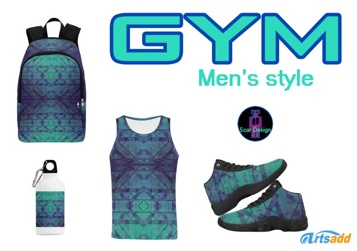 Modern design Men's Gym Set. Includes: Tank top, backpack, Basketball Shoes and Cazorla Sports Bottle by Scar Design. #mensstyle #gym #gymclothing #gymset #fashion #style #family #39 #backpack #tanktop #basket #basketballshoes #basketballshoes #modern #geometric #gymbackpack #giftsforhim #mensfashion #athletic #artsadd #scardesign #cazorlasportsbottle #sports #running #trekking #athlete