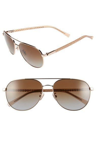 Women's COACH 58mm Polarized Aviator Sunglasses
