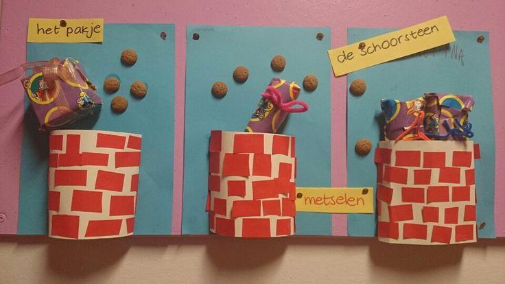 Schoorsteen - Sinterklaas De schoorsteen kun je maken van een halve wc rol en deze door de kinderen laten kleuren en versieren (knippen/plakken). De cadeautjes kunnen bijvoorbeeld leuk ingepakte snoepjes zijn (pepermunt / fruitella).