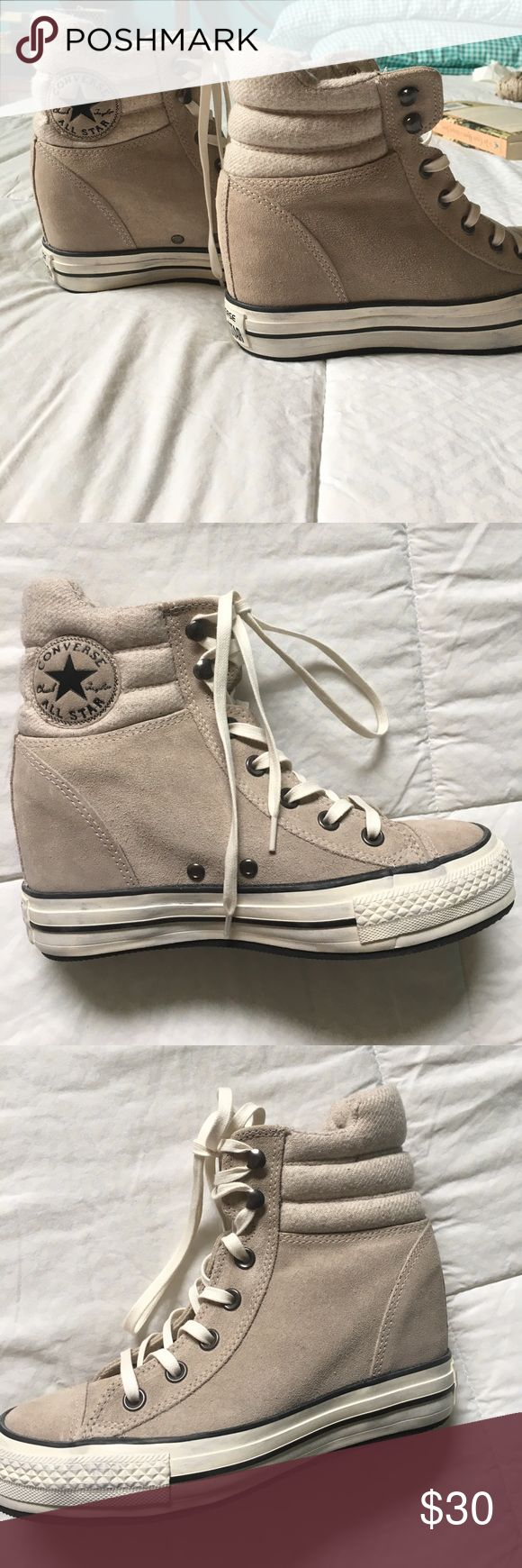 Hightop Converse wedge sneakers Wedge sneakers with a cushioned ankle, grey suede...worn once! Offers welcome :) Converse Shoes Sneakers