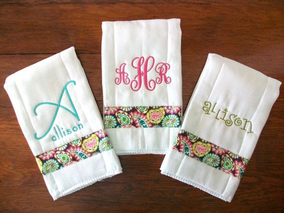 can we recruit mrs. w's machine for these? Baby girl boutique burp cloth set, paisley pink and green, custom embroidery and monogram.. $22.00, via Etsy.