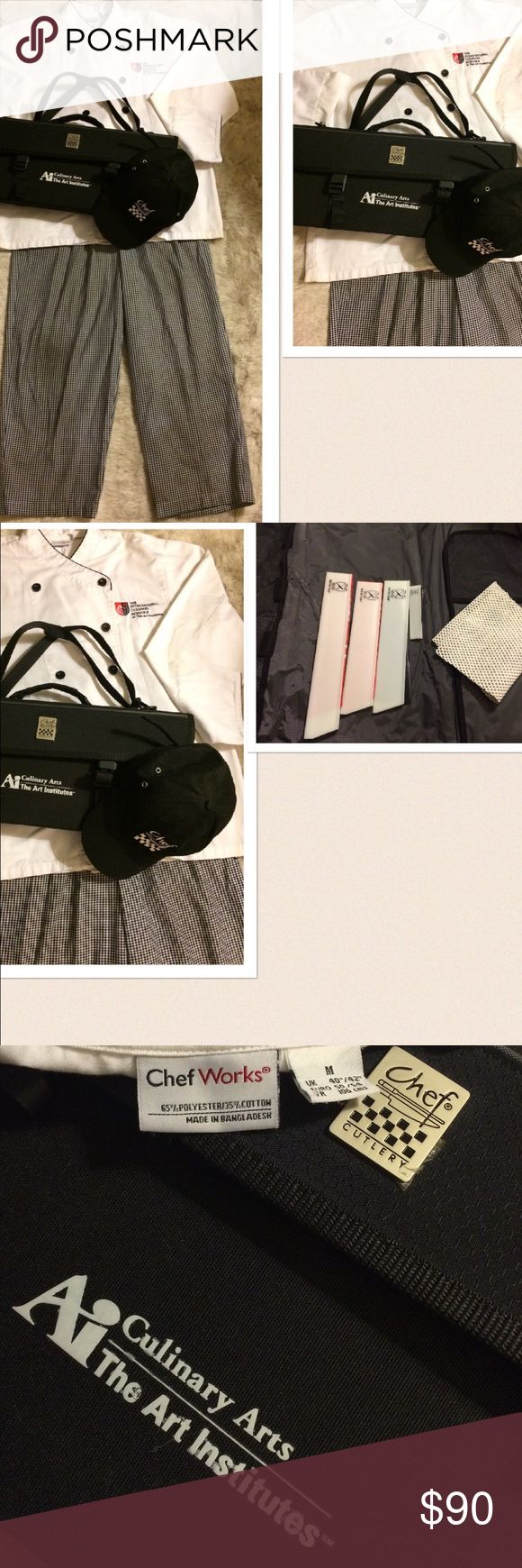 The Art Institute Chef Coat Pants Mercer Knife You will receive: 1 The Art Institute Chef Coat: Medium. 1 Chef Works Pants: Medium. 1 Chef Hat. 1 Chef Cutlery Knife Kit (empty with only the sleeves and has 1 broken clip) The coat and pants are used with some stain marks on the cuff of the coat. Knife kit and hat are new. Chef Works Jackets & Coats
