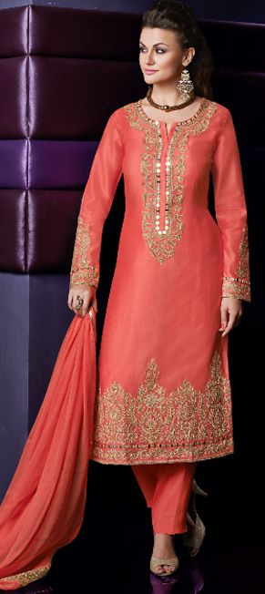 442355: Orange color family semi-stiched Party Wear Salwar Kameez.