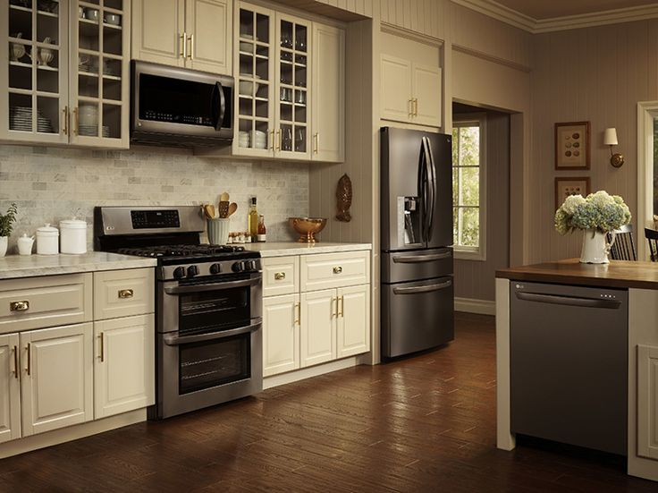 cream kitchen cabinets with stainless steel appliances lg black stainless steel appliances on display 14226