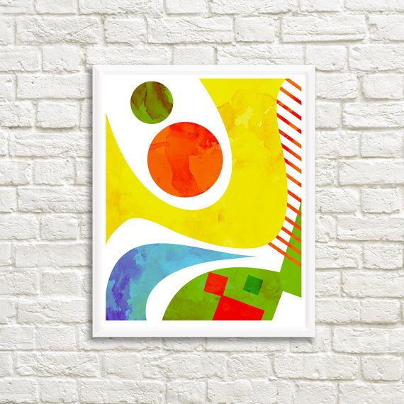 Red Ball and Swirls Abstract 20 x 25 by LittleLotusFlowers on Etsy