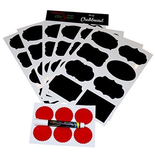 #1 64 Reusable Reusable (8 Sheet Pack) Premium Quality Black Decorative Adhesive Stickers-Pantry Storage Organizer, Mason Jar Chalk Labels, Gift Tags, Classroom Organization - Write Peel and Stick!