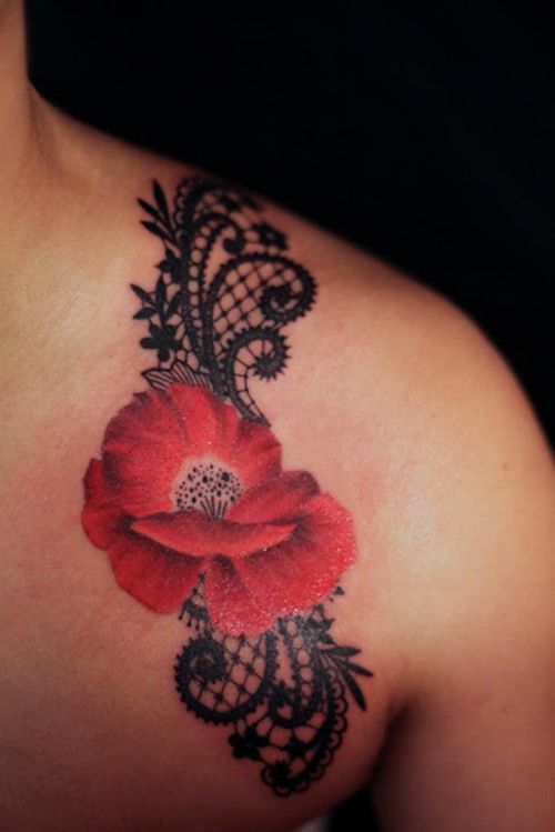 Red poppy shoulder tattoo I think this would be great with white ink rather than black for the lace.