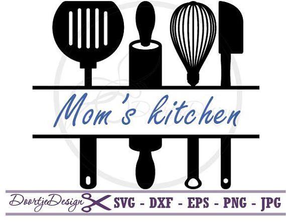 Split Monogram Svg Split Kitchen Utensils Svg Dxf Files Eps