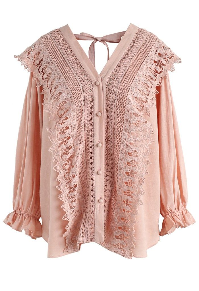 This Vintage Perfection crochet smock top in a soft pink shade is everything. 'Nuff said. Snag it and slay it.  - Crochet patch trimming - V-neckline with self-tie ribbon - Wear in two ways - Button down closure - Elastic cuffs - Split hem - Not lined - 65% polyester,35% cotton - Hand wash  Size(cm)Length Bust Shoulder Sleeves S/M        64   108    43     47 Size(inch)Length Bust Shoulder Sleeves S/M       25   42.5   17     18.5     * ...