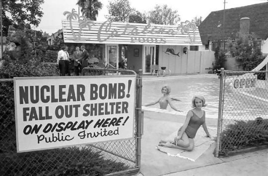 Selling nuclear fallout shelters. Los Angeles, 1961