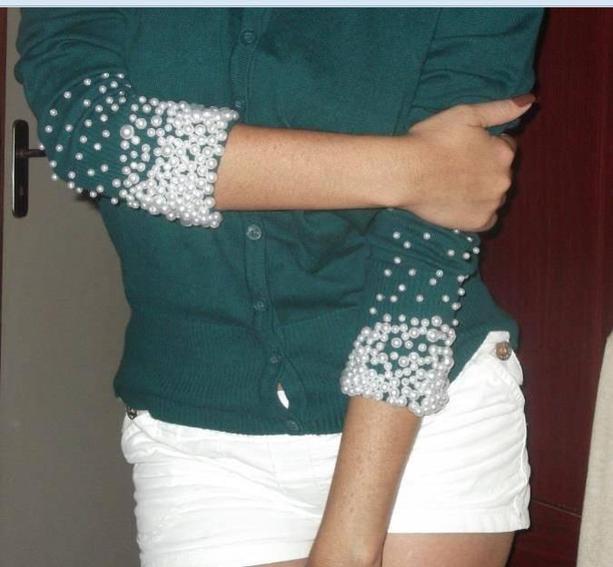 Diy upcycle sweater by adding pearls on sleeves