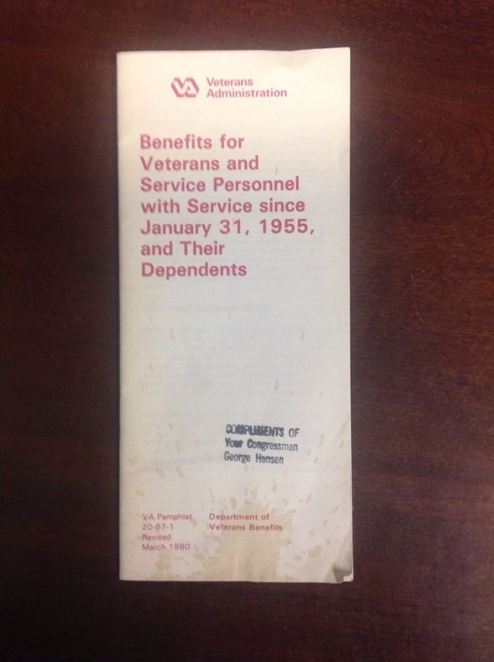 1955 Veterans Administration Benefits For Veterans Pamphlet VA 20-67-1 Rev 1980
