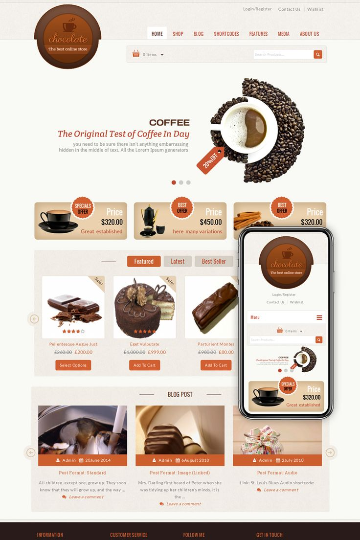 Chocolate is WordPress ecommerce theme based on WooCommerce plugin. It is suitable for chocolate, cake, food, restaurant, vegetable, pizza, garden, coffee and flower store.  #chocolate #wordpress #cake #food #restaurant https://www.templatemonster.com/woocommerce-themes/chocolate-cake-store-woocommerce-theme-68498.html