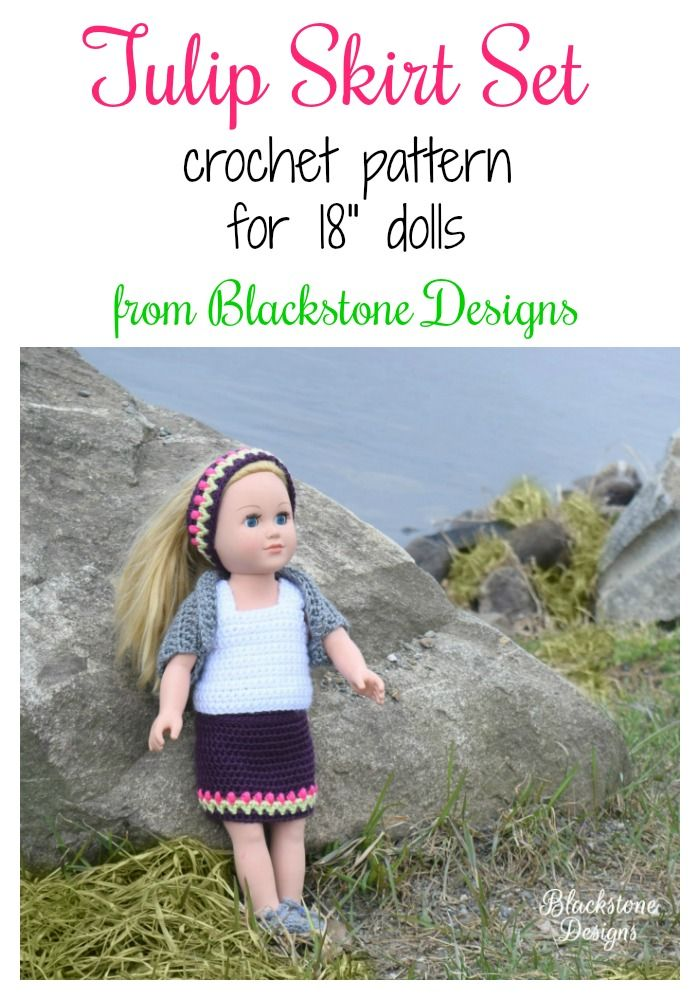 Tulip Skirt Set crochet pattern from Blackstone Designs This pattern includes instructions to make a Skirt, Headband, Tank Top, Shrug, and Shoes.  #crochet #dollclothes #americangirldoll #18inchdoll #crochetpattern