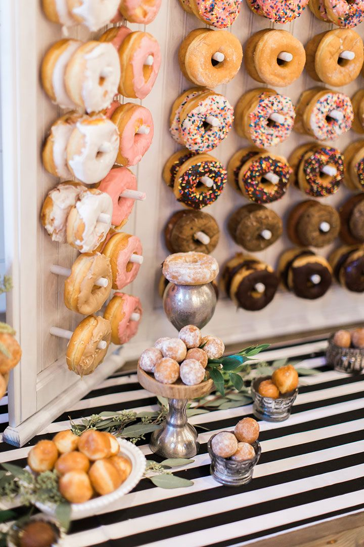 Bead board donut wall display with long enough pegs for two donuts.  Filled donuts and donut holes on the table