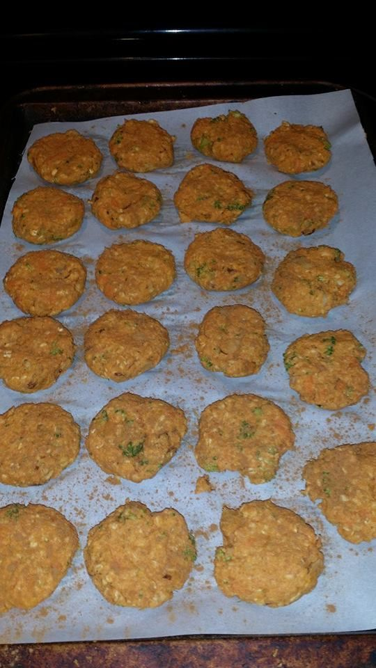 Birdie cookies are in the oven and cooking. Sweet potatoe, pumpkin, eggs, quinoa flour, rolled oats, broccoli, carrots, almonds and cinnamon