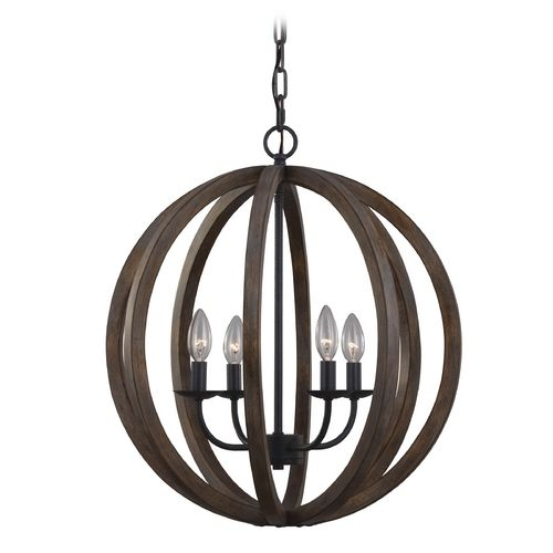 feiss lighting allier weather oak wood antique forged iron pendant light