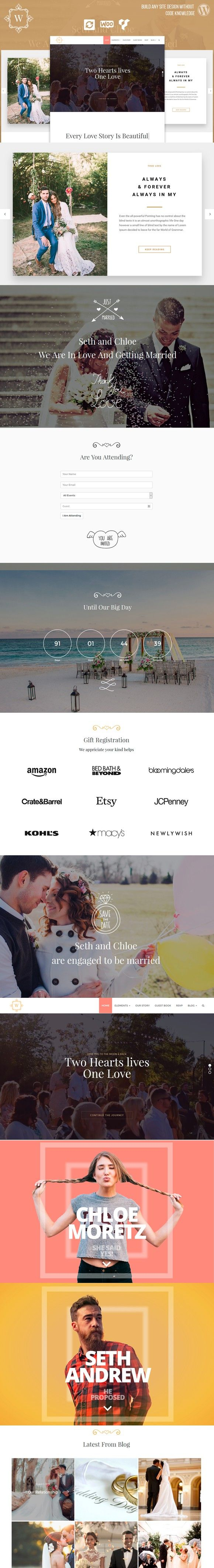 Google themes hearts - Wedding Events Wordpress Theme