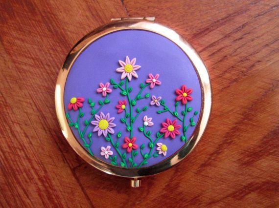 flower pocket mirror compact mirror unique wedding bridesmaid gifts mother of the bride by FloralFantasyDreams
