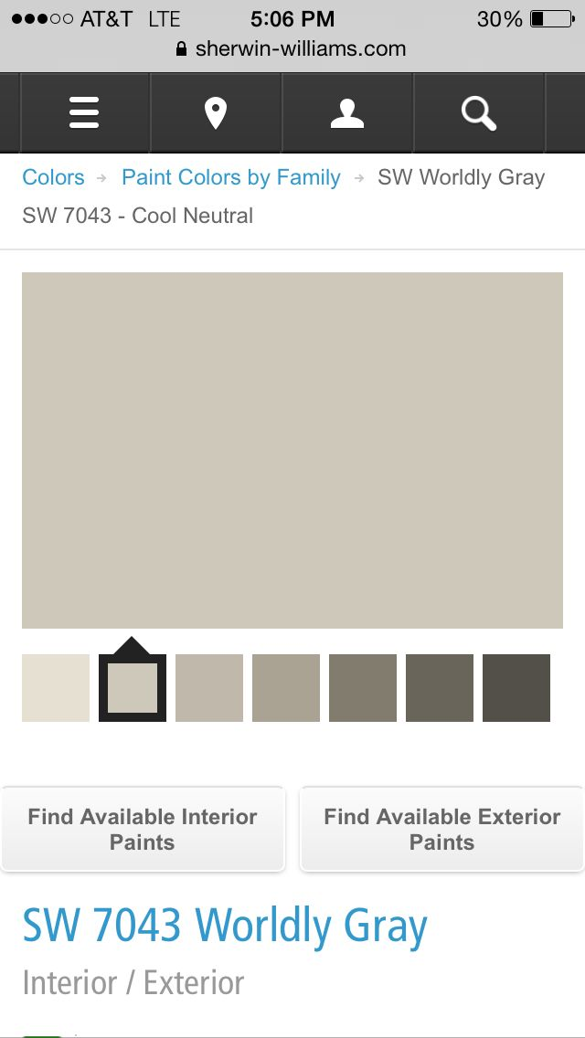 "Paint color for interior of house :) ""Worldly Gray"" by Sherwin Williams ..."