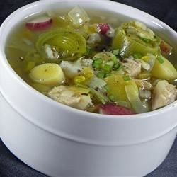 A traditional Scottish dish, this chicken and leek soup is flavored with thyme and thickened with barley.