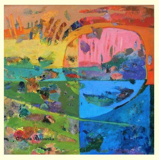 Beata Wąsowska, malarstwo Pory dnia, 80x80cm, olej na płótnie nr kat. 24-79 2004, #art  #womensart #polishart #malarstwo #malarstwoPolskie #krajobraz #malarstwoKobiet