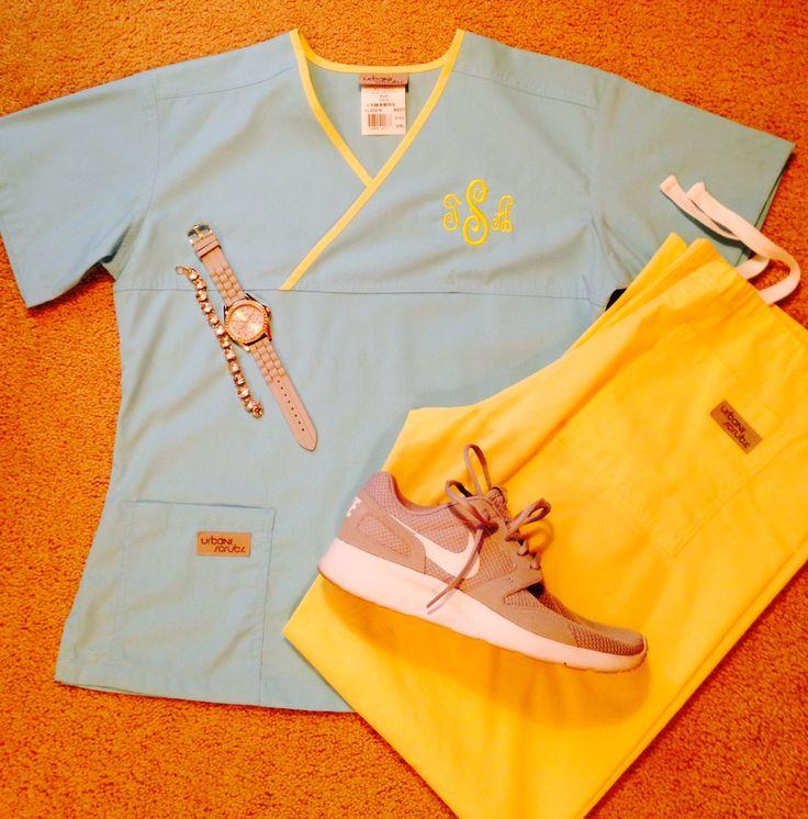 Light blue/yellow monogrammed scrubs
