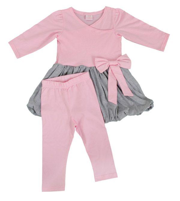 Vestido balone rosa e cinza com legging para meninas de até 2 anos.