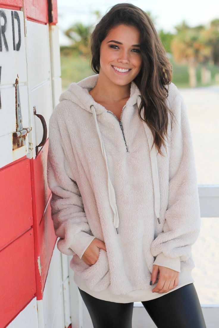 Beige Fur Pullover Sweater –