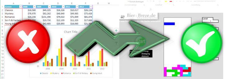 """Stift fallen lassen! Hier kommt Tetris für Excel - Zum Glück gibt es in meinem Blog die Kategorie """"Tut nichts zur Sache"""". Hier spielen die Dinge abseits tiefschürfender Wirtschaftsanalysen die Hauptrolle. Von daher ist es höchste Zeit, den Kuli beiseite zu legen, das Gehirn in den Stromsparmodus zu versetzen und Excel für das nutzen, wofür es da ist - zum Tetris spielen!"""