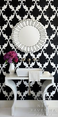 "Decoholic Interior Design Mosaic Bathrooms | http://decoholic.org/2011/04/20/mosaic-bathrooms/ | ""Tamara, a stone waterjet black and white mosaic shown in Nero Marquina honed and Thassos polished, is part of the Silk Road Collection by Sara Baldwin."""
