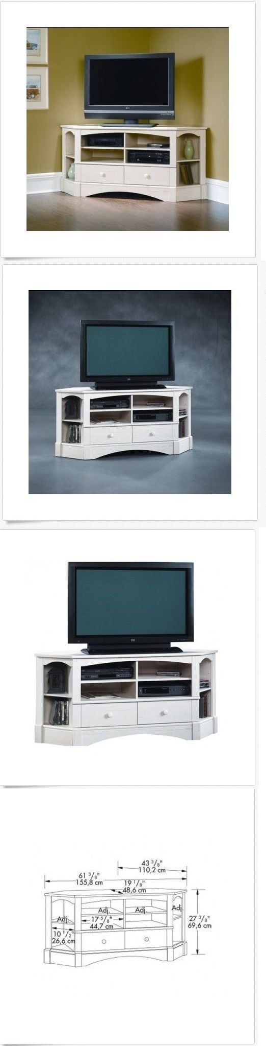 Entertainment Units TV Stands: Rustic Tv Stand Corner Entertainment Center Antique Wood Media Console Cabinet BUY IT NOW ONLY: $239.99