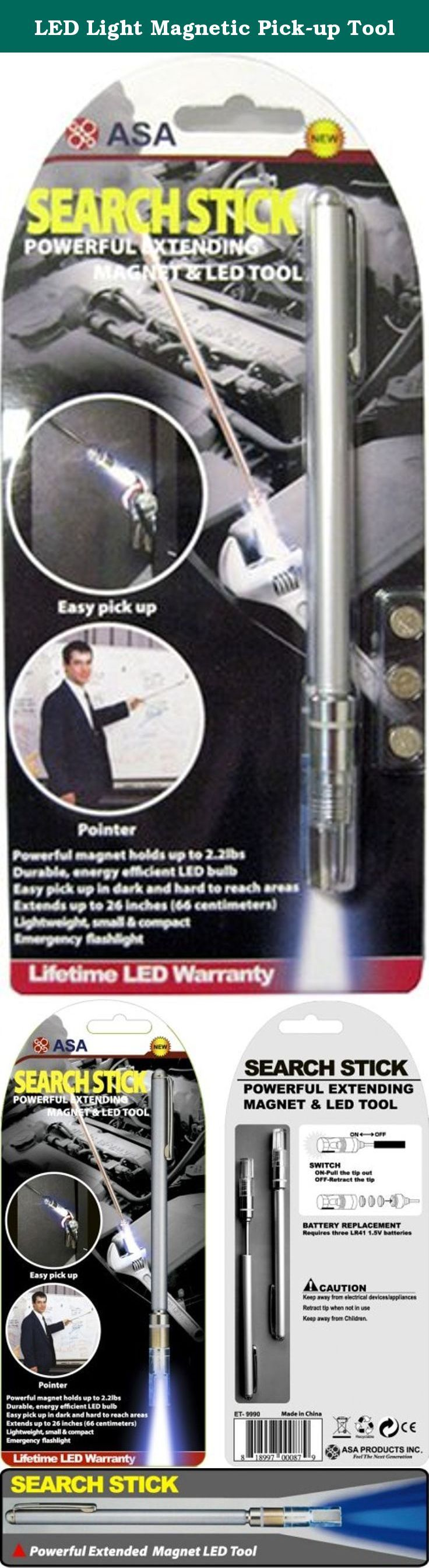 LED Light Magnetic Pick-up Tool. *Long life LED bulb for long-lasting light *Easy to pick up objects in narrow & dark spaces *Adjustable length 17cm to 66cm *Light weight, small & compact *Emergency flash light *Conduct baton.