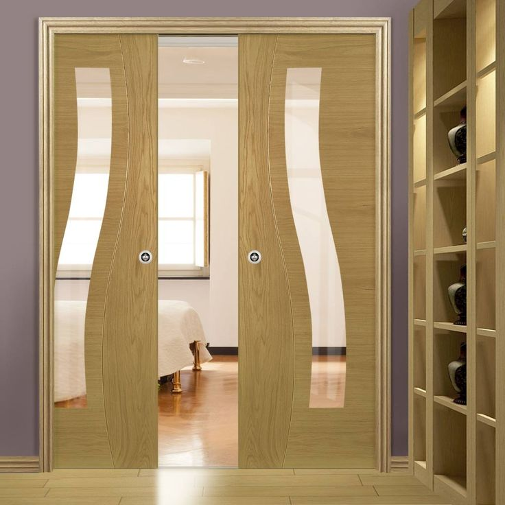 Deanta Double Pocket Contemporary Design Cadiz Oak Prefinished Door with Clear safety Glass & 306 best Deanta sustainable doors images on Pinterest | Folding ...