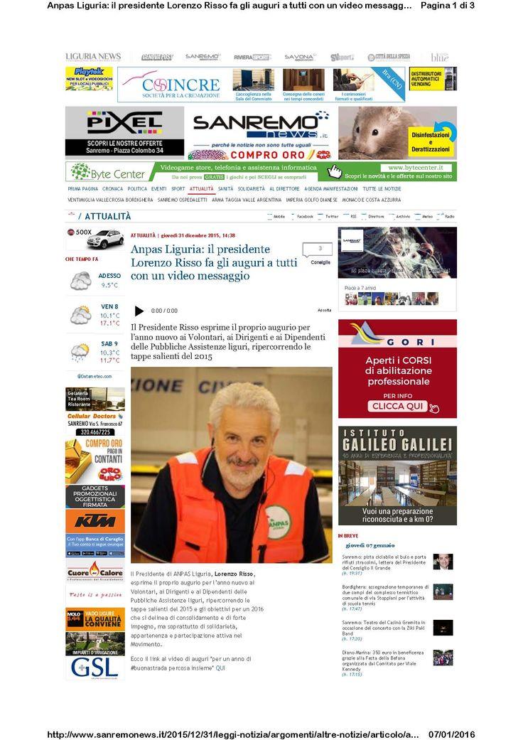 Sanremo News - 31 dicembre - Discorso del Presidente