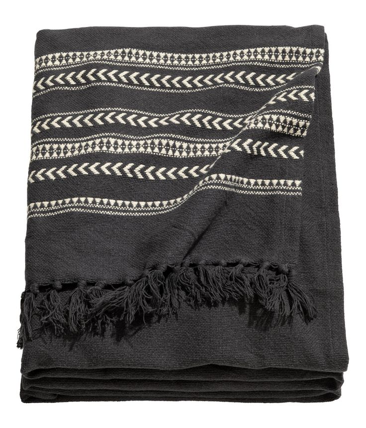 Check this out! Jacquard-weave bedspread in cotton fabric with fringe at short sides. - Visit hm.com to see more.