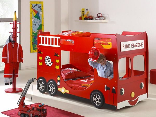 fire truck bunk bed-- could be done as a vintage pick up, maybe, to match the room?