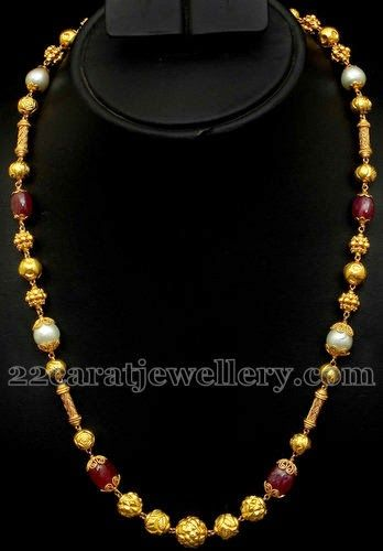 Jewellery Designs: Ruby Beads Nagaas Chain