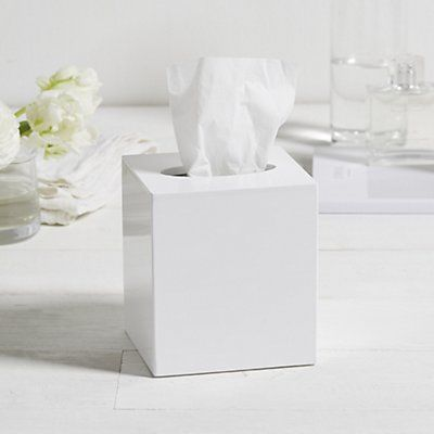 Lacquer Tissue Box Cover | White Lacquer Collection | Home Collections | The White Company UK