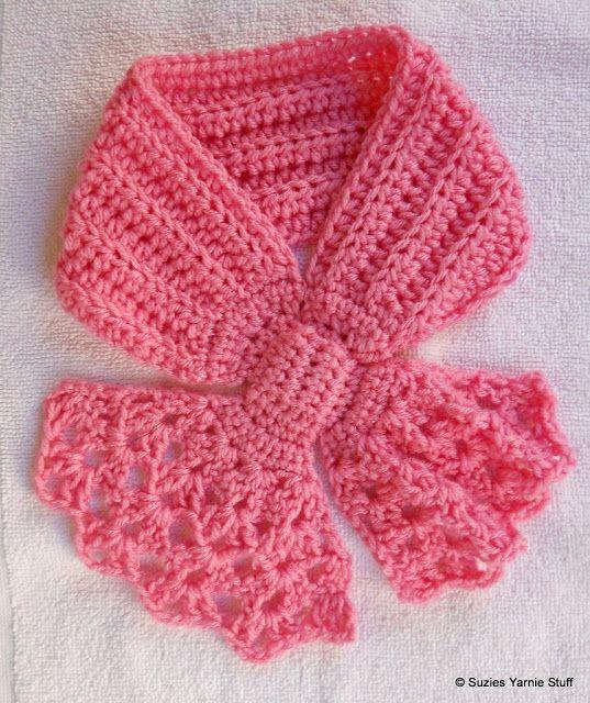 Suzies Stuff: PERFECT PINK SHELLS BOW SCARFLET: free crochet pattern