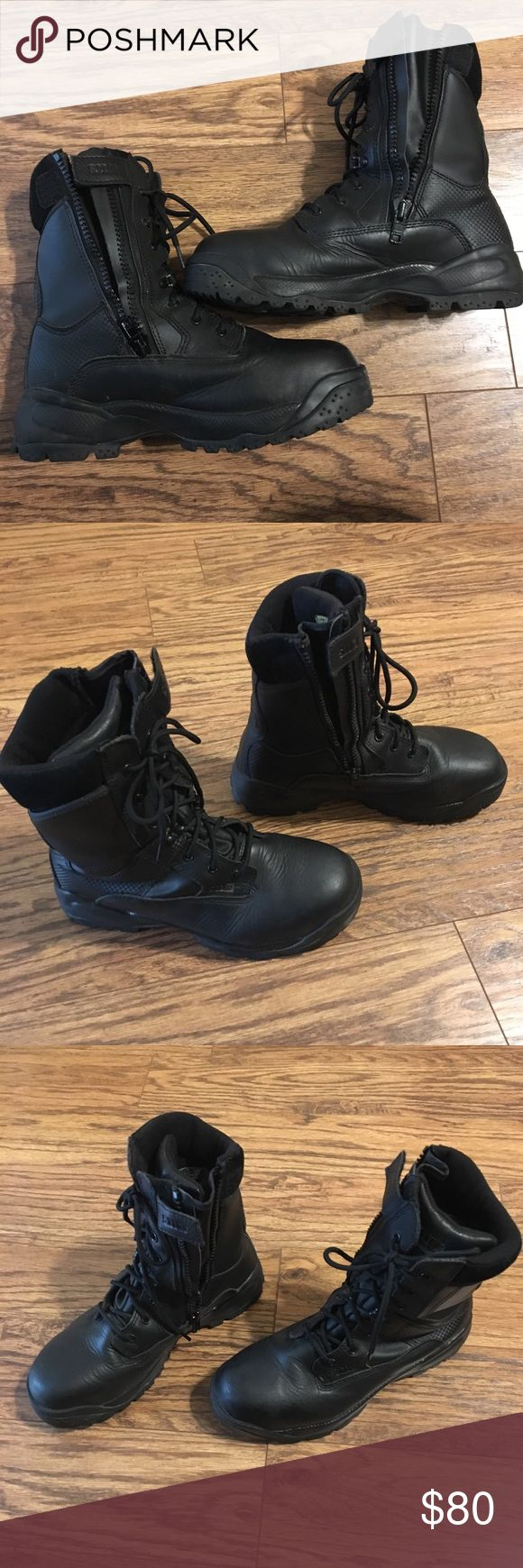 "🇺🇸 5.11 Black tactical ATAC 8"" Shield Boot🇺🇸 Waterproof/breathable bloodborne pathogen resistant membrane, a CSA/ASTM certified composite safety toe and a puncture resistant midsole.  An oil and slip resistant outsole, anti-bacterial lining and side-zip functionality for easy on and off.  CSA/ASTM certified safety toe Waterproof/breathable BPR membrane 5.11 Shock Mitigation System® Antibacterial and moisture-wicking lining Cushioned insole Oil and slip resistant, no-squeak outsole…"