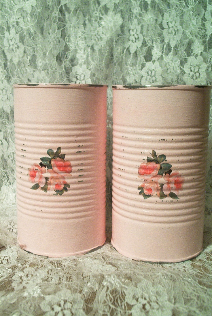extra tall upcycled shabby chic tin cans with cottage pink roses repurposed spring upcycled recycled valentines wedding day decor. $10.00, via Etsy.
