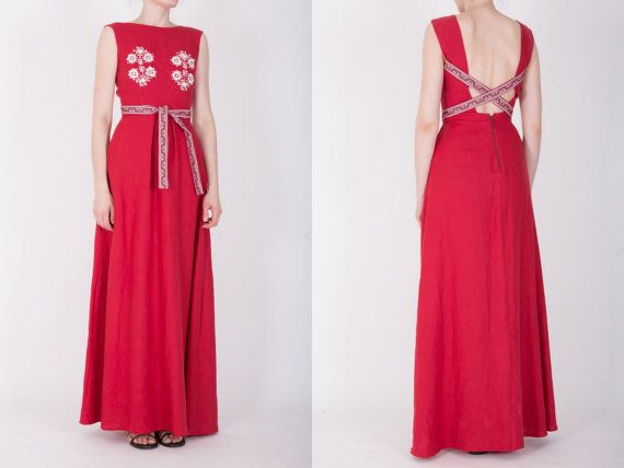 SALE Dark red linen dress with embroidery by AtelierDeCoutureJK