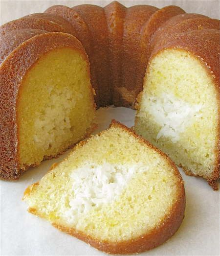Tunnel of love, lemon bundt cake with coconut cream filling. oh the possibilities.